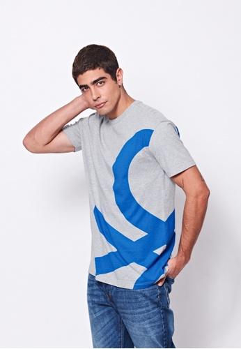 United Colors of Benetton grey Logo Printed T-shirt 804ABAA988956CGS_1