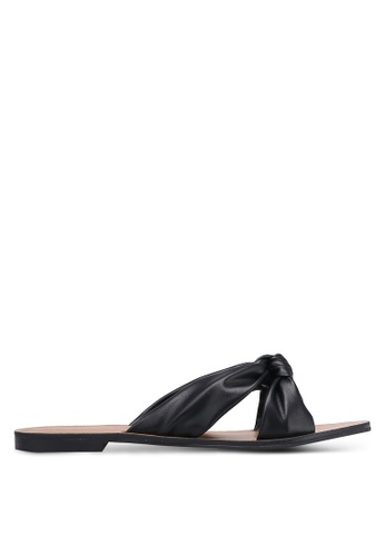 ZALORA black Faux Leather Knotted Sliders 07354SH2821870GS_1