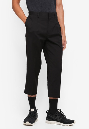 AT TWENTY black Double-Pleated Cropped Pants 77813AA49A2D1CGS_1