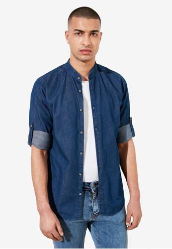 Trendyol navy Slim Fit Denim Shirt 8F9A5AA6AA0EA1GS_1
