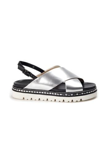Shu Talk silver AMAZTEP Studs Metallic Patent Leather Sandals EF03ESH2A1B01AGS_1