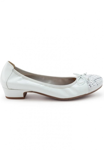 Shu Talk grey Patent Round Toe Studs Low Heel Shoes SH617SH2UXGQHK_1