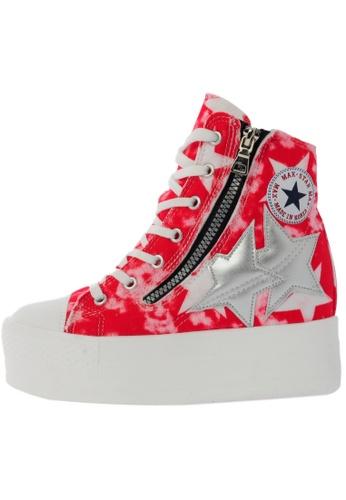 Maxstar C2 50 7 Holes Denim All White Platform High Top Sneakers US Women Size MA168SH79DLSHK_1