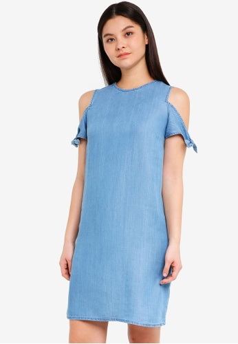 Dorothy Perkins blue Midwash Tie Sleeve Cold Shoulder Dress 53C83AA711711EGS_1