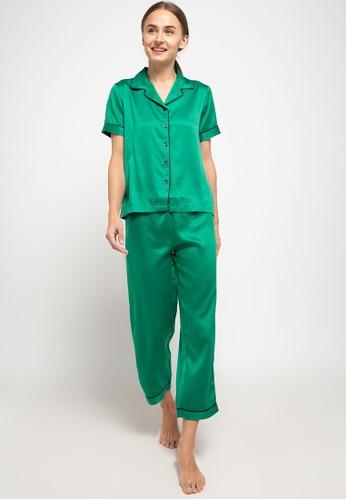 Anne Wintours green Pyjama Baju Tidur Set Short Sleeve Long Pants Satin Sleepwear 9A679AAE8132E5GS_1