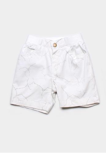 Mini Moley white Wall Crack Print Boy's Shorts 605B1KA8A6B752GS_1
