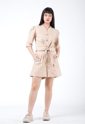 Simplify beige Victoria Linen Set Khaki 50C42AA58A1C93GS_1