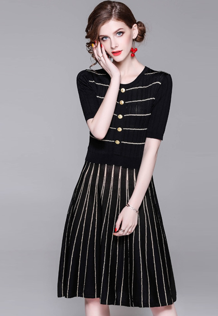 Black Striped 2018 One Sunnydaysweety Black New A060820 Dress Piece 4Wq7zf