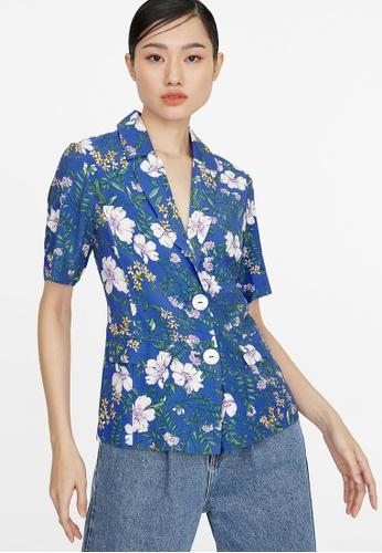 Pomelo blue Floral Double Button Blazer - Blue 43932AAB4AEB95GS_1