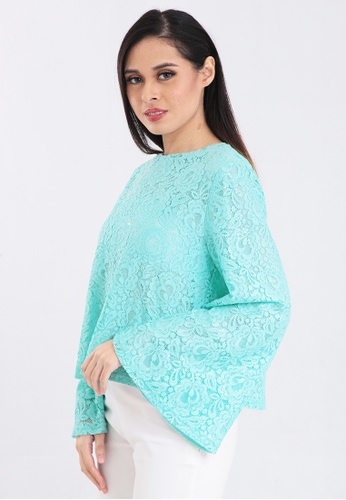 a01b11648abc ZONA green Top Long Sleeve Round Neck Lace 1B282AAD93F1DFGS 1