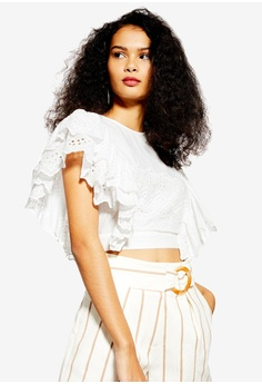 93736558f TOPSHOP white White Broderie Frilly Crop Top 5B477AADAB4CF9GS_1
