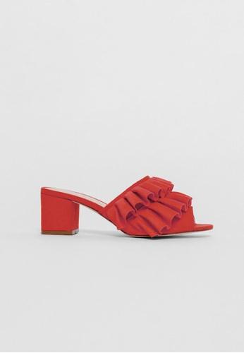 Love Bonito red Myolia Ruffled Heeled Mules EAB85SHB039E17GS_1