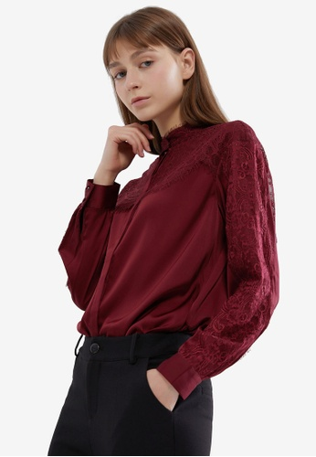 Hopeshow red Lace Button Blouse 194D3AADDB78D4GS_1