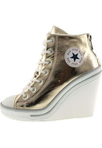 Maxstar 金色 新款韩国鞋777-BZ-TC時尚皮革布混合女金色 US Women Size MA345SH75GYATW_1
