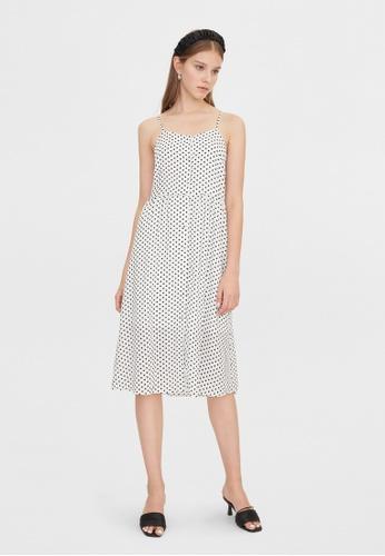 Pomelo white Polka Dot Tie Back Cami Dress - White 373DDAA52A0DFDGS_1
