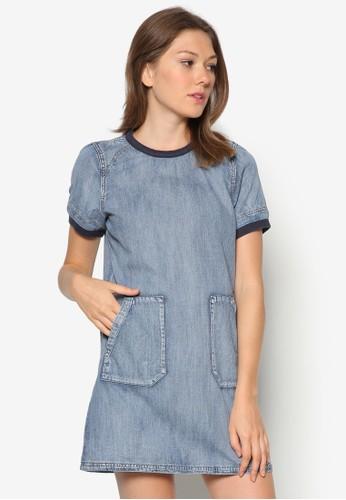 口袋zalora 包包 ptt丹寧連身裙, 服飾, 服飾