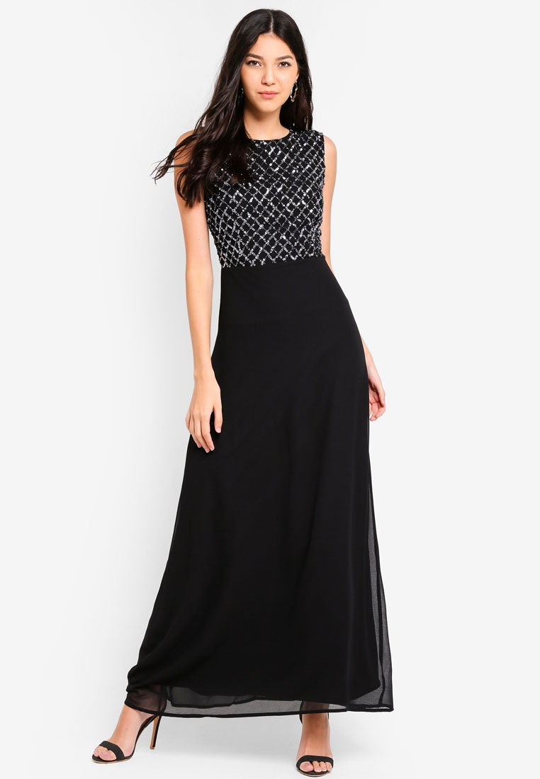 Angeleye Back Black Embellished Black Cut Dress Out wpxOwfqZ