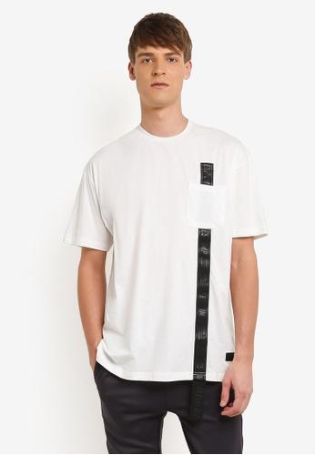 Flesh IMP white Oversized Side Locked T-shirt FL064AA0RN9ZMY_1