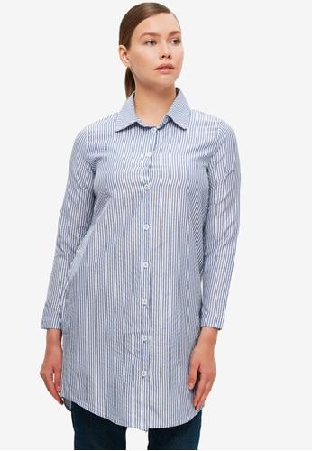 Trendyol 藍色 條紋Tunic 襯衫 A3017AA98EFD23GS_1