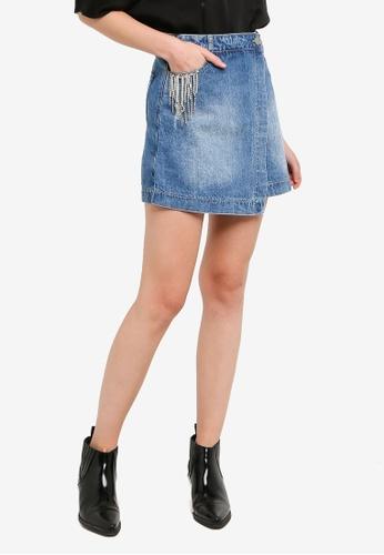 Hopeshow blue Front Overlap Flap Denim Mini Skirt 81D6BAACC0C00AGS_1