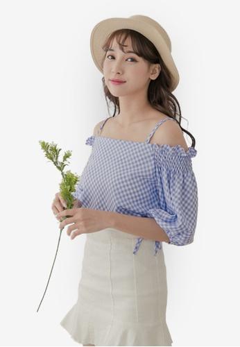 59e920a079b Buy Eyescream Cold Shoulder Puffed Sleeve Checkered Top   ZALORA HK