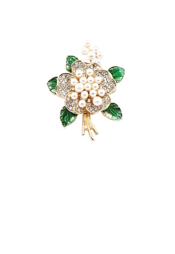 Glamorousky white Fashion and Elegant Plated Gold Flower Imitation Pearl Brooch with Cubic Zirconia 18251ACCA7856AGS_1