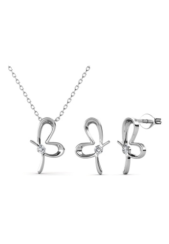 Her Jewellery silver Posie Butterfly Set (White Gold) -  Embellished with Crystals from Swarovski® AE007AC31E61D2GS_1