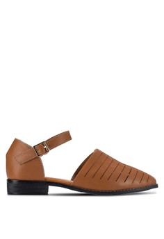 【ZALORA】 尖頭龍子鏤空繞踝低跟鞋