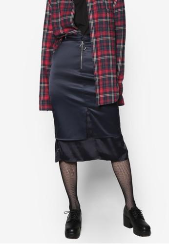 韓式風格兩層式亮質及膝裙, 服飾, esprit outlet 桃園裙子