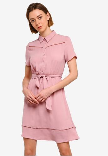 ZALORA 粉紅色 蕾絲滾邊襯衫洋裝 49785AADD38B45GS_1