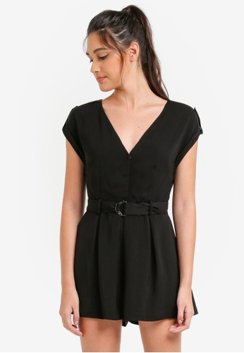 Something Borrowed black Belted Button Down Romper 7A0C5AA7FD8EC6GS_1