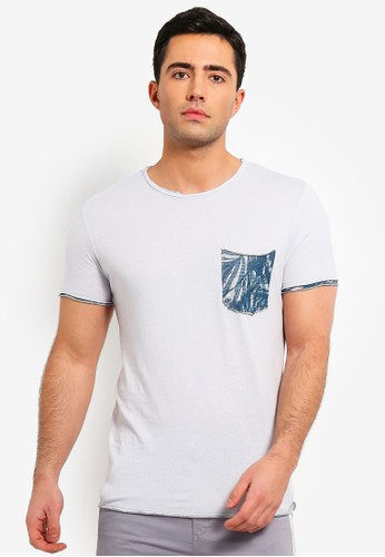 OVS blue Trend T Shirt With Aop Contrast 260F6AAE67214AGS_1