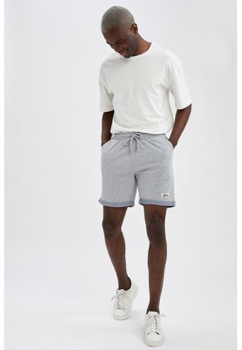 DeFacto grey Slim Fit Sweatshirt Bermuda Shorts 11B8FAAA930FA1GS_1