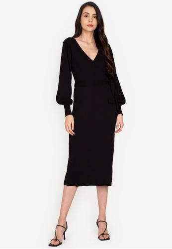 ZALORA BASICS black Knitted Wrap Dress 5CED3AA046DA81GS_1