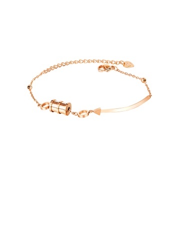 Glamorousky silver Simple Temperament Plated Rose Gold Geometric Cylinder 316L Stainless Steel Bracelet EA3D0AC85AF15DGS_1