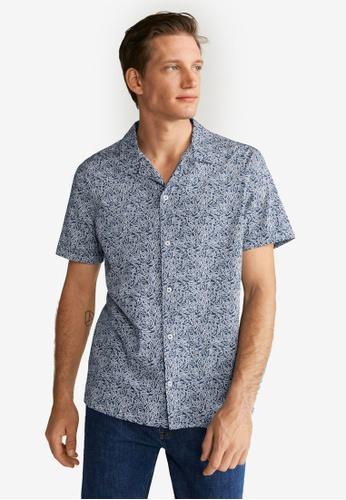 Mango Man blue Regular-Fit Leaf-Print Shirt 45B9FAA468AF04GS_1