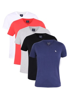 62065dd4 Abercrombie & Fitch black and white and red and multi and navy 5 Pack T-