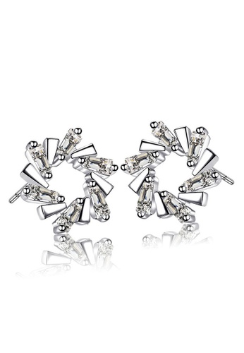 LYCKA silver LFF5221-LYCKA-S925 Siliver White Zircon Trendy Ladder Earrings-Silver EFBF0AC35D0409GS_1
