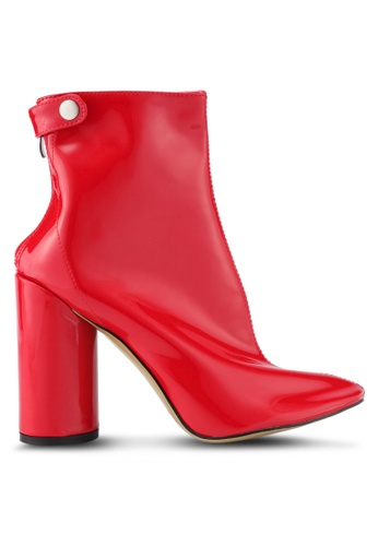 Public Desire red Vinyl Stud Strap Ankle Boots PU378SH0SIOXMY_1