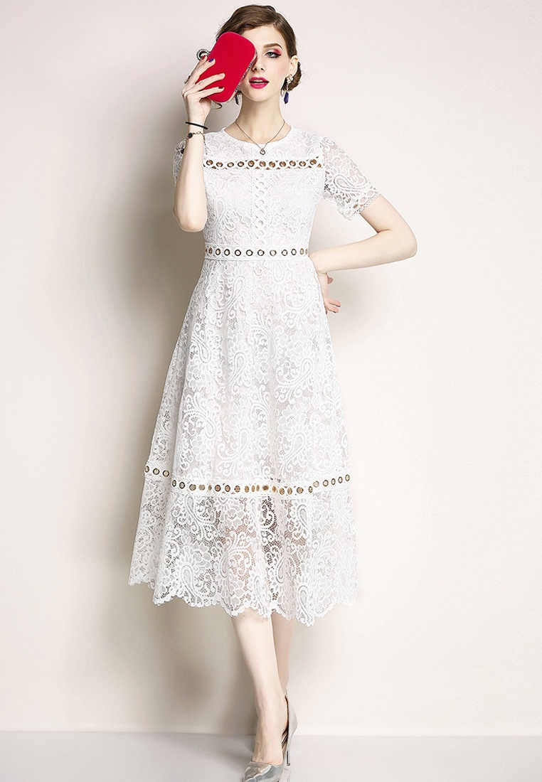 Dress A060815W white White New 2018 Piece Sunnydaysweety One Lace wnv1qnHWZF