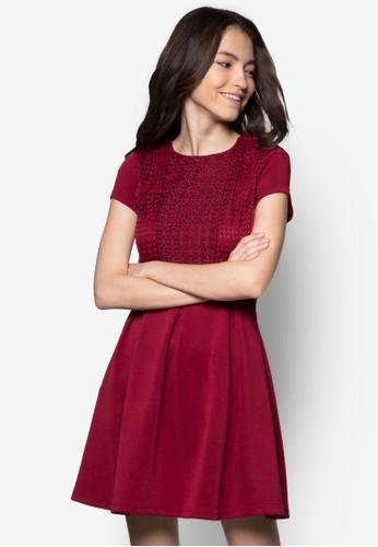 鉤花拼接短zalora taiwan 時尚購物網袖洋裝, 服飾, 服飾