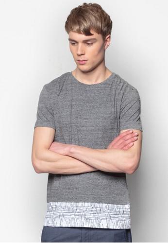 印花拼接短袖TEE, 服飾, 印圖Tesprit 京站恤