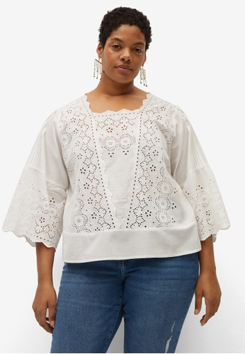 Violeta by MANGO white Plus Size Openwork Cotton Blouse 57BB6AAE6B642FGS_1