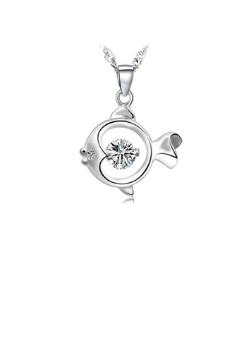 Glamorousky white 925 Sterling Silver Fish Pendant with Cubic Zircon and Necklace D0D4FAC34CA744GS_1