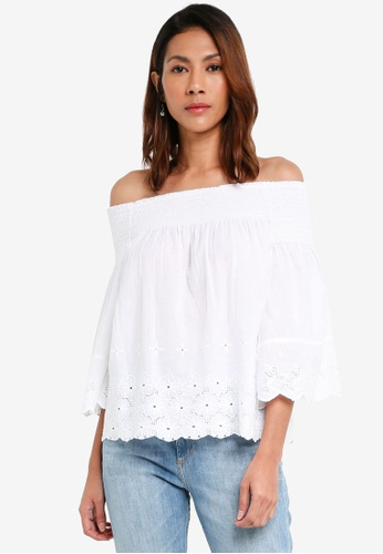 93af8d868a062 Dorothy Perkins white Ivory Broderie Shirred Bardot 6A6F7AA98E6682GS 1