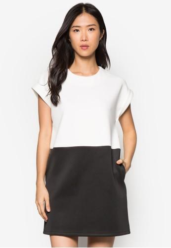 雙色直筒連身裙, 服飾, 正式zalora taiwan 時尚購物網鞋子洋裝