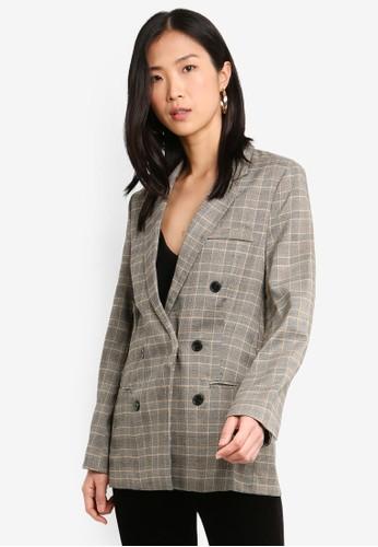 bYSI grey Plaid Button Skinny Blazer 2CF45AAD5BD89FGS_1