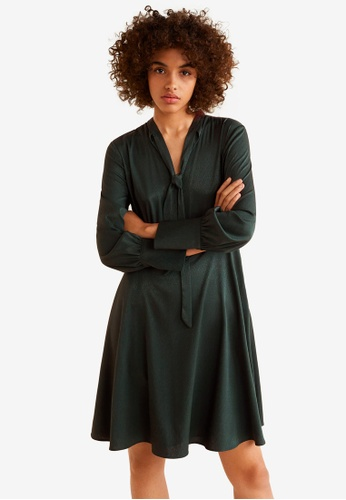 Mango green Satin Tie Dress ADE02AA845133BGS_1