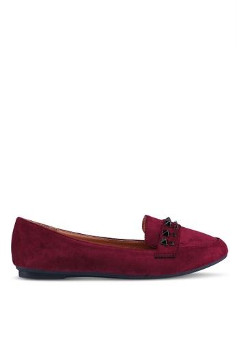 Noveni 紅色 鉚釘平底鞋 CC9E3SH03D8FB6GS_1
