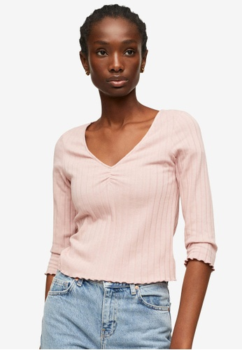 Mango pink Gathered Ribbed T-Shirt 91A3EAA7C23AEAGS_1